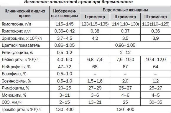 Показатели крови при беременности