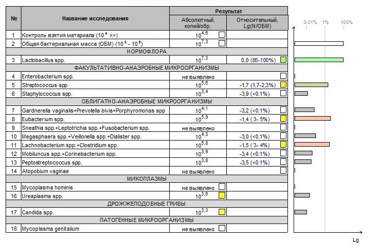 Пример бланка результатов